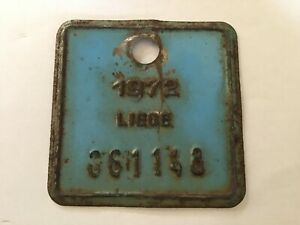 Vintage Metal Paint Belgian Bicycle License Plate 1972 LIEGE.