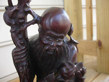 Asia Asian Wood Hand Carved Sculpture Statue Old Bearded Man Little Girl Fruit