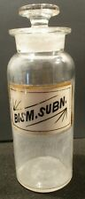 1890 8 In LABEL UNDER GLASS BISM. SUBN. APOTHECARY DRUGSTORE BOTTLE & STOPPER
