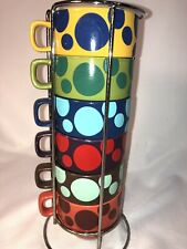 World Market Stacking Coffee Cups with Rack Set of 6 Polka Dot Ceramic