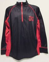 Team USA Mens Large Red Black Pullover Jacket Windbreaker Half Zip Track Exercis