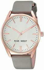Nine West Women's NW 1994rggy Rose Gold Tone and Grey Strap Watch