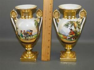 Antique Pair Old Paris Fine French Porcelain Figural Scenic Handled Vases Urns