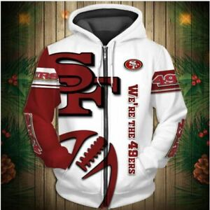 San Francisco 49ers Zipper pocketed Hoodie 16 Styles sizes small thru 5X NFL