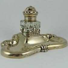 1925 Danish Modern Dansk Arbedje Silver Plate Inkstand & Faceted Glass Inkwell
