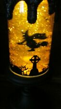 Animated LED Halloween Candle Revolving Shimmering Scene Witch New in Box