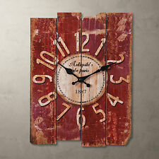 Antique Art Wall Clock Wood Vintage Retro Rustic Home Office Cafe Bar Decor RED