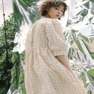 Womens Trendy Summer Short Sleeve Floral Dress Mori Girl Rural Style Loose Dres