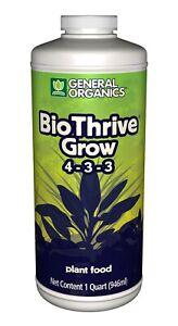 General Hydroponics General Organics BioThrive Grow, 1-Quart