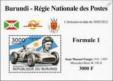 MERCEDES BENZ W196 & Juan Manuel Fangio Formula 1 GP Race/Racing Car Stamp Sheet