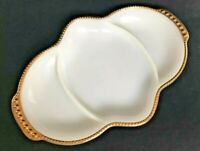 Fire King Milk Glass White Divided Tray Platter Vintage 24 K Gold Trim Oven Ware