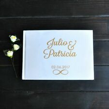 Personalized Wedding Guest Book Customized Gold And Silver Calligraphy Name Date