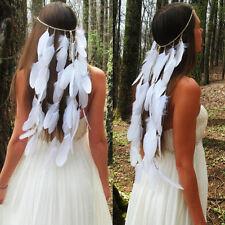 Women Native Indian Feather Weave Boho Gypsy Bridal wedding Headband Hair Band