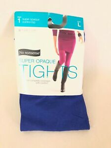 NEW! No Nonsense Super Opaque Control Top Tights Women's Large BLUE SHOCK
