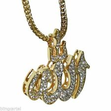 """Allah Symbol Bling Pendant Gold Finish 36"""" In Long Franco Chain Hip Hop Necklace"""
