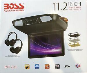 "BOSS AUDIO 11.2"" WIDESCREEN FLIP DOWN TFT LCD MONITOR & TWO WIRELESS HEAD PHONES"
