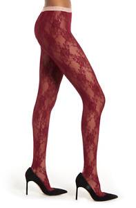 NWT Gucci Deep Red Floral Lace Pink Logo Waistband Stretch Runway Tights M $590