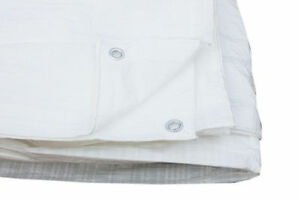 Tarpaulin Cover Ground Sheet With Eyelets 3.5M X 4.5M 80 Gsm IN WHITE