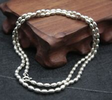 """19.7""""L Fine Pure S925 Silver 3mm Fine Oval Smooth Bead Link Lucky Chain / 14.5g"""