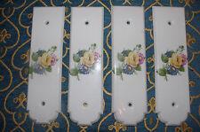 Rare set 4 door plates plaques enamel porcelain de Paris door shabby chic roses