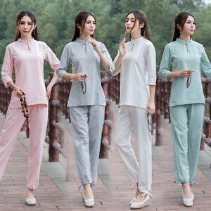 Exercise Vintage Womens Tai Chi Martial Arts Uniform Kung Fu Top+pants Yoga
