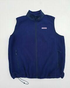 Vineyard Vines Fleece Harbor Vest Size XL Blue Full Zip Mock