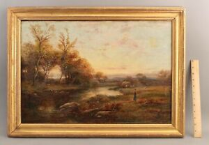 19thC Antique JOHN LANGSTAFFE English Impressionist Farm Landscape Oil Painting