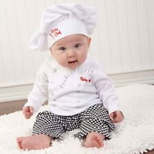Baby Boy Girls Carnival Cook Chef Party Costume Outfit Top+ Pants+ Hat Set 6-24M