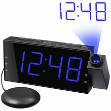 Mesqool Projection Clock with Bed Shaker Alarm, Loud Alarm Sound Vibrating