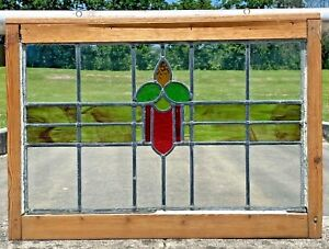 """Vintage Stained Glass Window with Wooden Frame 30"""" x 21"""" Ready to Hang NEW FRAME"""