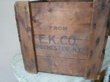 "Vintage Eastman Kodak Film Rochester, NY Wooden Shipping Crate 17"" X 13"" VGC"