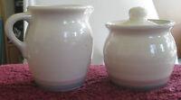 Pfaltzgraff Aura Pattern Ceramic Creamer & Sugar Bowl Retired Design Blue Pink