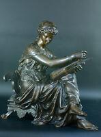Statue bronze Empire Neo Classique antique MUSE ERATO Lyre POÉSIE L.GREGOIRE 19e