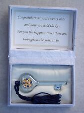 21st Birthday Key to the Door@Floral Box & Verse@Glass Male Gift@Blue@FRENCH