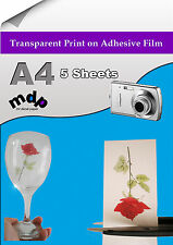 Clear Adhesive Film - Transparent Adhesive Paper x 5 A4