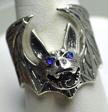 LOOK Sterling Silver Vampire Dracula Bat Sapphire Eyes Ring Gothic Jewelry Hallo