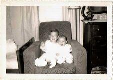 1954 Vintage Antique Photograph Adorable Little Babies Sitting in Chair
