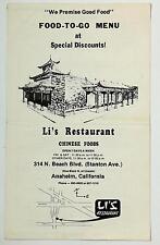 Original Vintage Food To Go Menu LI'S RESTAURANT Anaheim California
