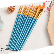 10 Pcs Face Painting Brushes - Round And Flat Tip Art Paint Brush Glitter Set