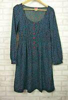 Leona by Leona Edmiston Long sleeve dress Black, red blue leaf print Sz 3