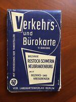 Karte Rostock/Schwerin/Neubrandenburg m. Grenzen-DDR 1966-Ostalgie-1:300000-B177
