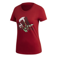 Womens Adidas T-shirt MH Flower Tee Red Performance Short Sleeve