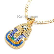 """5mm 24"""" Figaro Chain Necklace K7152G New Iced Out King Tut Egyptian Pendant"""