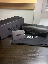WOLF Blake 305628 Travel Triple Case Black Leather black Lining Watch Roll