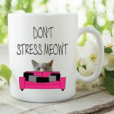 Novelty Funny Mugs Don't Stress Meowt Cat Mugs Cat Lovers Mugs Gifts WSDMUG540
