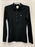 Lacoste Women's Black Long Sleeve Polo Shirt Size 38 (M) - EUC