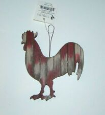 Slat wood style Rooster Ornament