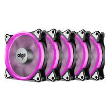 5PCS Aigo  Pink Halo LED 120mm PC CPU Computer Case Cooling Neon Clear Fan Mod