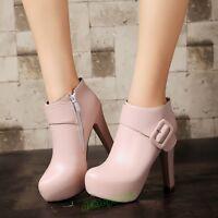Elegant Chunky Heel Women Buckle Zip Platform Ankle Boot Shoes Round Toe Plus SZ