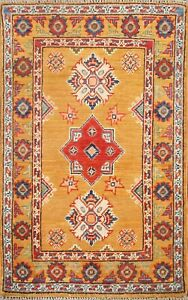 Geometric Super Kazak Vegetable Dye ORANGE WOOL Handmade Oriental Area Rug 2x3